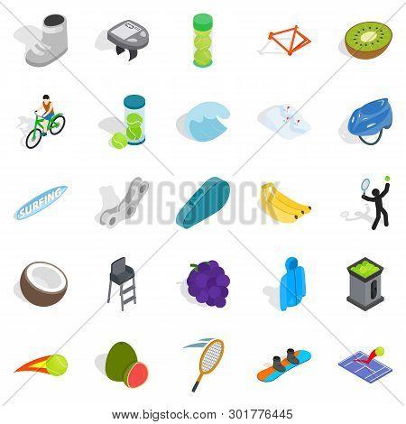Sport Lifestyle Icons Set. Isometric Set Of 25 Sport Lifestyle Icons For Web Isolated On White Backg