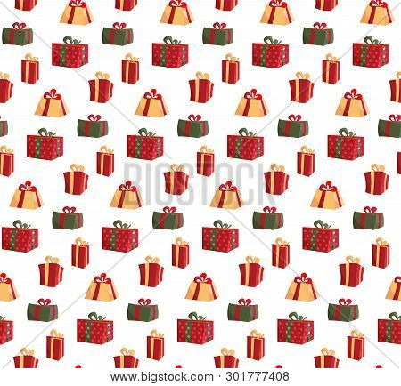 Seamless Pattern With Picture Of Gift Boxes. Pattern Gift Box For Fabric Print, Wrapping Package Gif