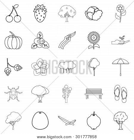 Floret Icons Set. Outline Set Of 25 Floret Icons For Web Isolated On White Background