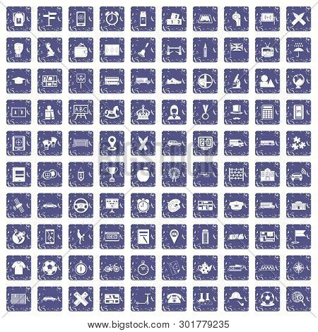 100 bus icons set in grunge style sapphire color isolated on white background illustration poster