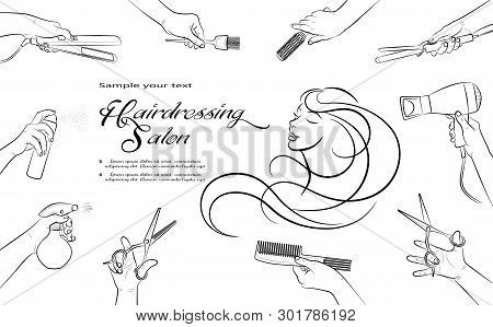 Hairdressing Salon. Barbershop And Beauty Hair. Hands Barber Cut, Stack, Curl, Dye Their Hair.  Hori