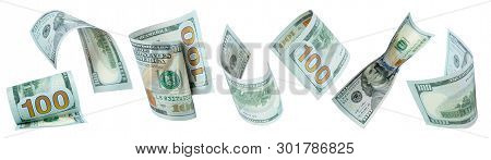 Flying Money On White Background. Dollars, Banknotes. Panorama, Banner.