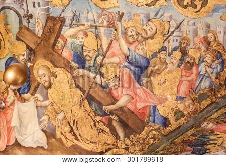 Jerusalem, Israel - April 17, 2019: Greek Orthodox Fresco In The Church Of The Holy Sepulchre In Jer
