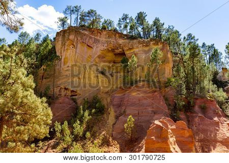 Large Colorful Ochre Deposits, Located In Roussillon, Small Provensal Town In  Natural Regional Park