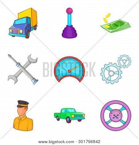 Hauler Icons Set. Cartoon Set Of 9 Hauler Icons For Web Isolated On White Background