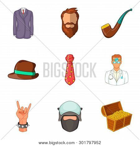 Factory worker icons set. Cartoon set of 9 factory worker icons for web isolated on white background poster