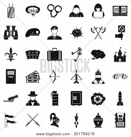 Aggressive Action Icons Set. Simple Set Of 36 Aggressive Action Icons For Web Isolated On White Back