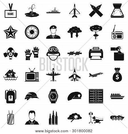 Armed Services Icons Set. Simple Set Of 36 Armed Services Icons For Web Isolated On White Background
