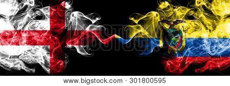 English Vs Ecuador, Ecuadorian Smoky Mystic Flags Placed Side By Side. Thick Colored Silky Smokes Fl
