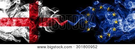English Vs European Union, Eu Smoky Mystic Flags Placed Side By Side. Thick Colored Silky Smokes Fla