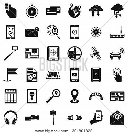 Portable Widget Icons Set. Simple Set Of 36 Portable Widget Icons For Web Isolated On White Backgrou