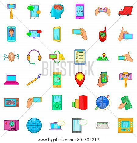 Telecommunication Widget Icons Set. Cartoon Set Of 36 Telecommunication Widget Icons For Web Isolate