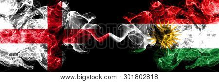 English Vs Kurdistan, Kurdish Smoky Mystic Flags Placed Side By Side. Thick Colored Silky Smokes Fla