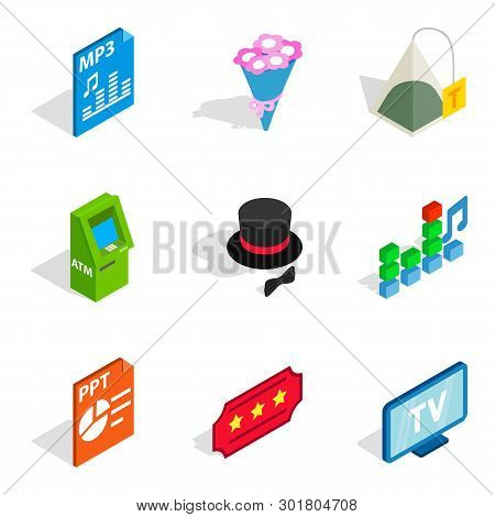 Musical Accompaniment Icons Set. Isometric Set Of 9 Musical Accompaniment Icons For Web Isolated On