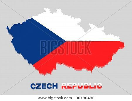 Czech Republic, Map With Flag,