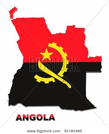 Angola, Map With Flag