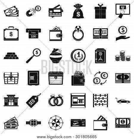 Hard Cash Icons Set. Simple Set Of 36 Hard Cash Icons For Web Isolated On White Background