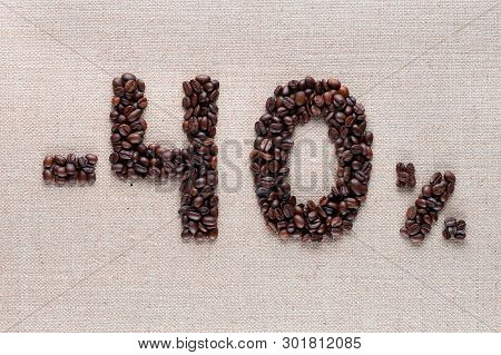 40% Discount From Coffee Beans Aligned In Center, Shot Close Up