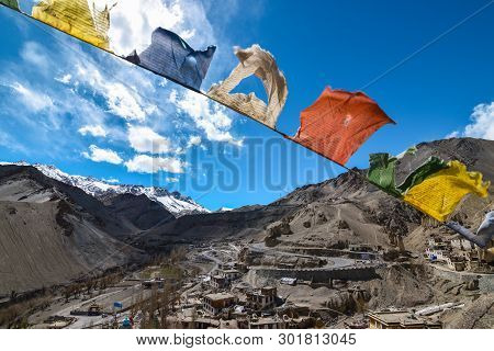 Tibetan Flags With City Scape Of Leh Ladakh.