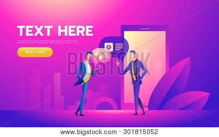 Coworkers Office Concept With Characters. Freelancer Concept, Coworking People. Standing Employee Sp