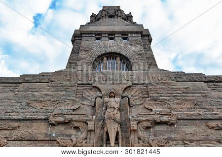 Leipzig, Germany - October 2018:  Statue Of Archangel Michael At The Entrance To The Monument To The