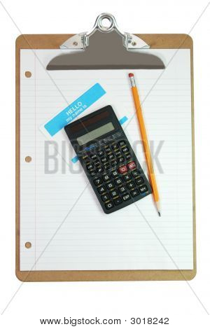 Clipboard, Calculator, Pencil, Name Tag, And Paper