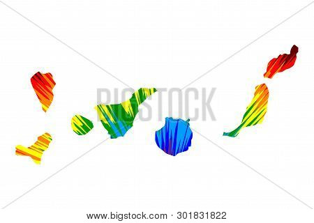 Canary Islands - Map Is Designed Rainbow Abstract Colorful Pattern, Islas Canarias Map Made Of Color