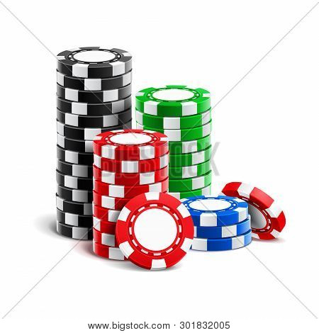 Stack Of Realistic Empty Chips For Casino Or Pile Of Blank 3d Gambling Tokens. Volumetric Heap Of Mo