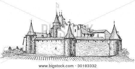 Medieval castle Aigle in Switzerland. Bitmap copy my vector drawing poster