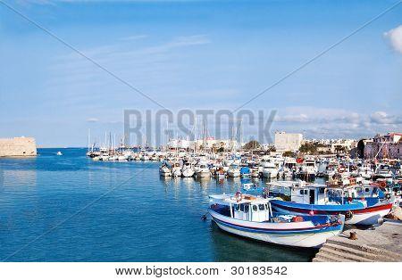 Heraklion port and venetian harbour in island of Crete, Greece poster