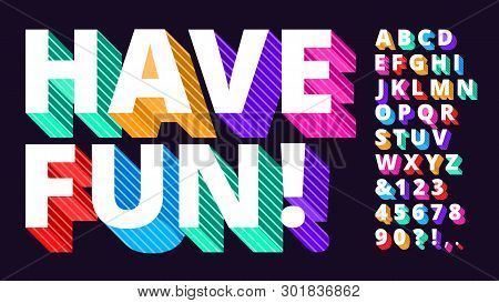 Colorful Modern Font. Striped 3d Alphabet, Funny Lettering Type And Artistic Vivid Letters Vector Il