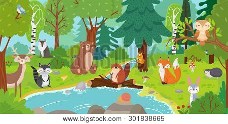 Cartoon Forest Animals. Wild Bear, Funny Squirrel And Cute Birds On Forests Trees Kids Vector Backgr