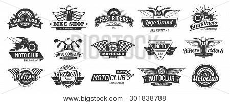 Biker Club Emblems. Retro Motorcycle Rider Badges, Moto Sports Emblem And Motorbike Silhouette Badge