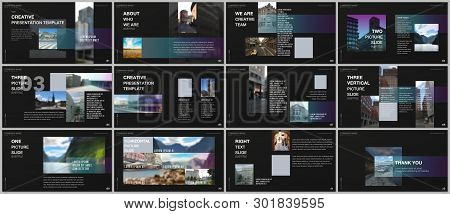 Minimal Presentations Design, Portfolio Vector Templates With Colorful Gradient Design Geometric Tre