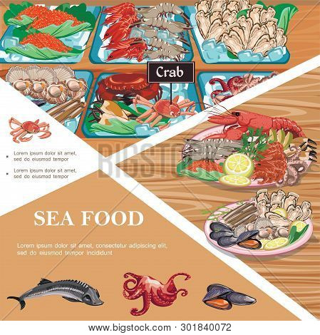 Flat Seafood Template With Plates Of Sea Food Sturgeon Octopus Mussels Fish Caviar Prawns Oysters Cr
