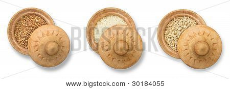 Buckwheat, Rice And Barley In Wood Plate