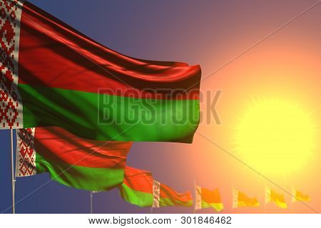 Wonderful Feast Flag 3d Illustration  - Many Belarus Flags On Sunset Placed Diagonal With Soft Focus