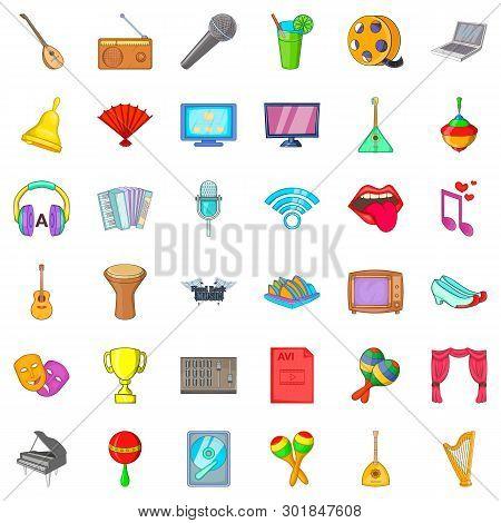 Philharmonic Icons Set. Cartoon Set Of 36 Philharmonic Icons For Web Isolated On White Background