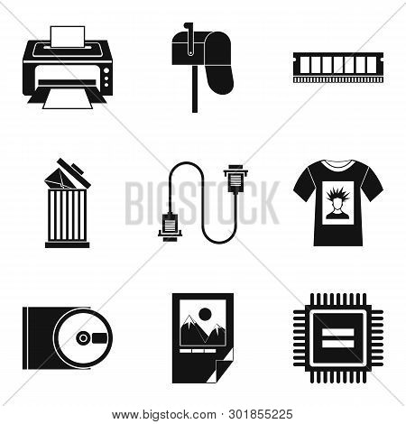 Printout Icons Set. Simple Set Of 9 Printout Icons For Web Isolated On White Background