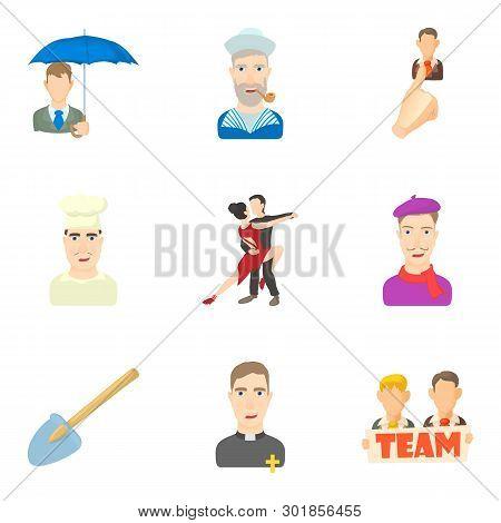 Scholar Icons Set. Cartoon Set Of 9 Scholar Icons For Web Isolated On White Background