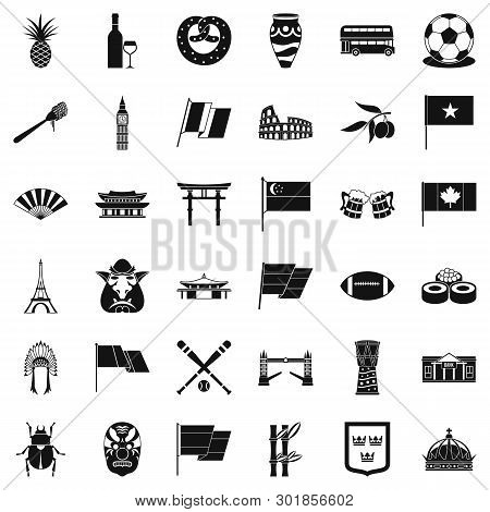 Nationwide Icons Set. Simple Set Of 36 Nationwide Icons For Web Isolated On White Background