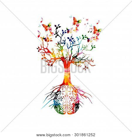 Colorful Human Brain With Growing Tree Vector Illustration Background. Creative Thinking, Ideas And