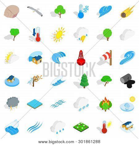 Peaceful Nature Icons Set. Isometric Set Of 36 Peaceful Nature Icons For Web Isolated On White Backg