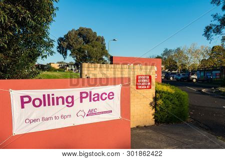 Melbourne, Australia - May 18, 2019: Australian Electoral Commission Polling Place At Mallauna Colle