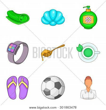 Slackness Icons Set. Cartoon Set Of 9 Slackness Icons For Web Isolated On White Background