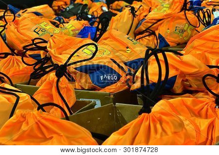 Fargo, North Dakota-may 136 2019 : Marathoners Back Packs Are Found At The Drop Off Station At The A