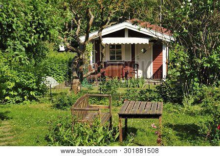 Closeup Of A Summerhouse In Sweden Area.