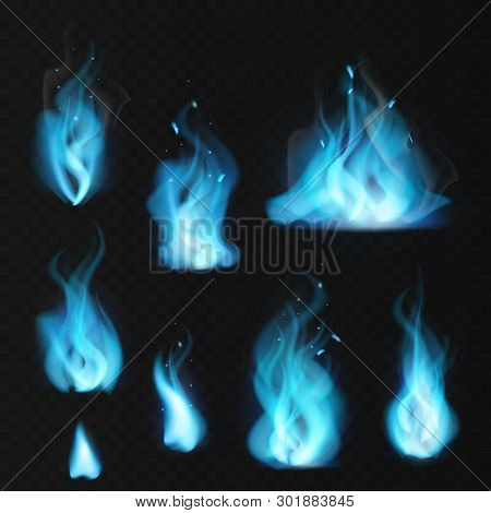 Blue Flame. Burning Fiery Natural Gas Hot Fireplace Flames Warm Fire Blazing Realistic Bonfire Effec