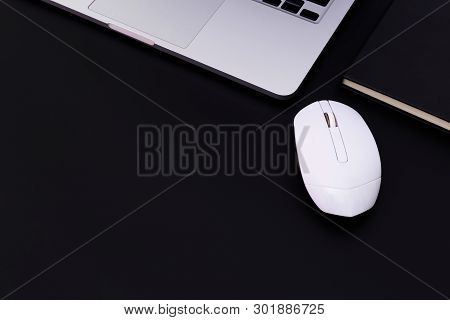 Flat Lay Office Desk Table Of Modern Workplace With Laptop On Black Table, Top View Laptop Backgroun