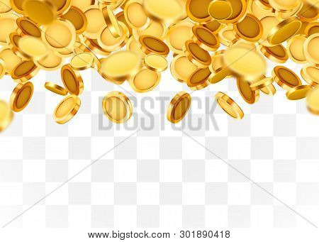 Falling Coins, Falling Money, Flying Gold Coins, Golden Rain On Transparent Background. Jackpot Or S